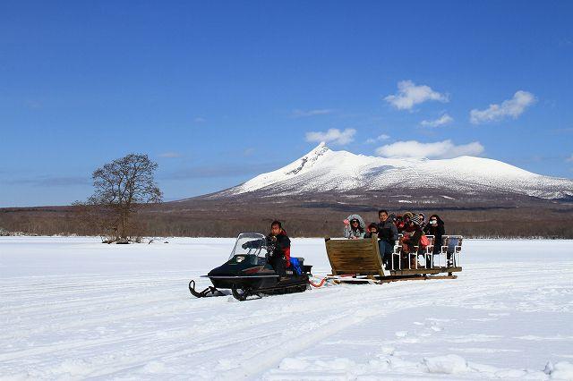 【氷上そりツアー】大沼湖 絶景氷上パノラマツアー氷の厚さウオッチや記念写真撮影もしちゃいます!氷上島巡り そりツアー**ひざ掛け毛布付**