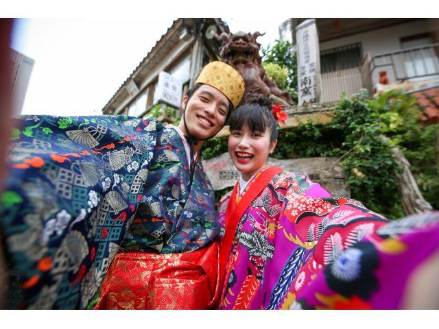 【沖縄・琉装体験】一番人気!沖縄の伝統衣装『琉装』で街歩き♪注目度抜群!本格的な琉装で自由に街歩き!(ヘアセット&ポイントメイク無料!)