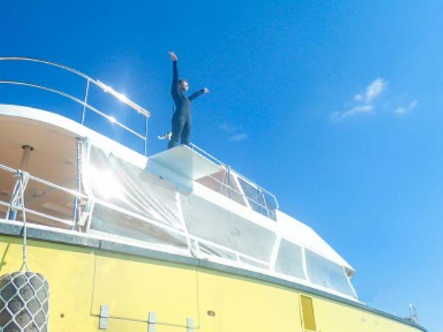 【慶良間海域  /半日】ウォータースライダー&ブランコ付きの船で行く!ケラマ海域半日 OPGシュノーケルツアー&マリンスポーツ1点付き!【午前便/AM 8:00 出港】3歳~70歳迄体験OK!ウォータースライダー付きの船で行く! ケラマ海域半日シュノーケルツアー&マリンスポーツ1点付き!