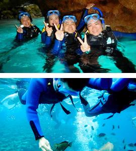 <沖縄・青の洞窟シュノーケリング/ダイビング>沖縄で最も人気のあるダイビング・シュノーケルのスポット ~青の洞窟コース~※お得無料プラン!! <シュノーケリング>青の洞窟コース