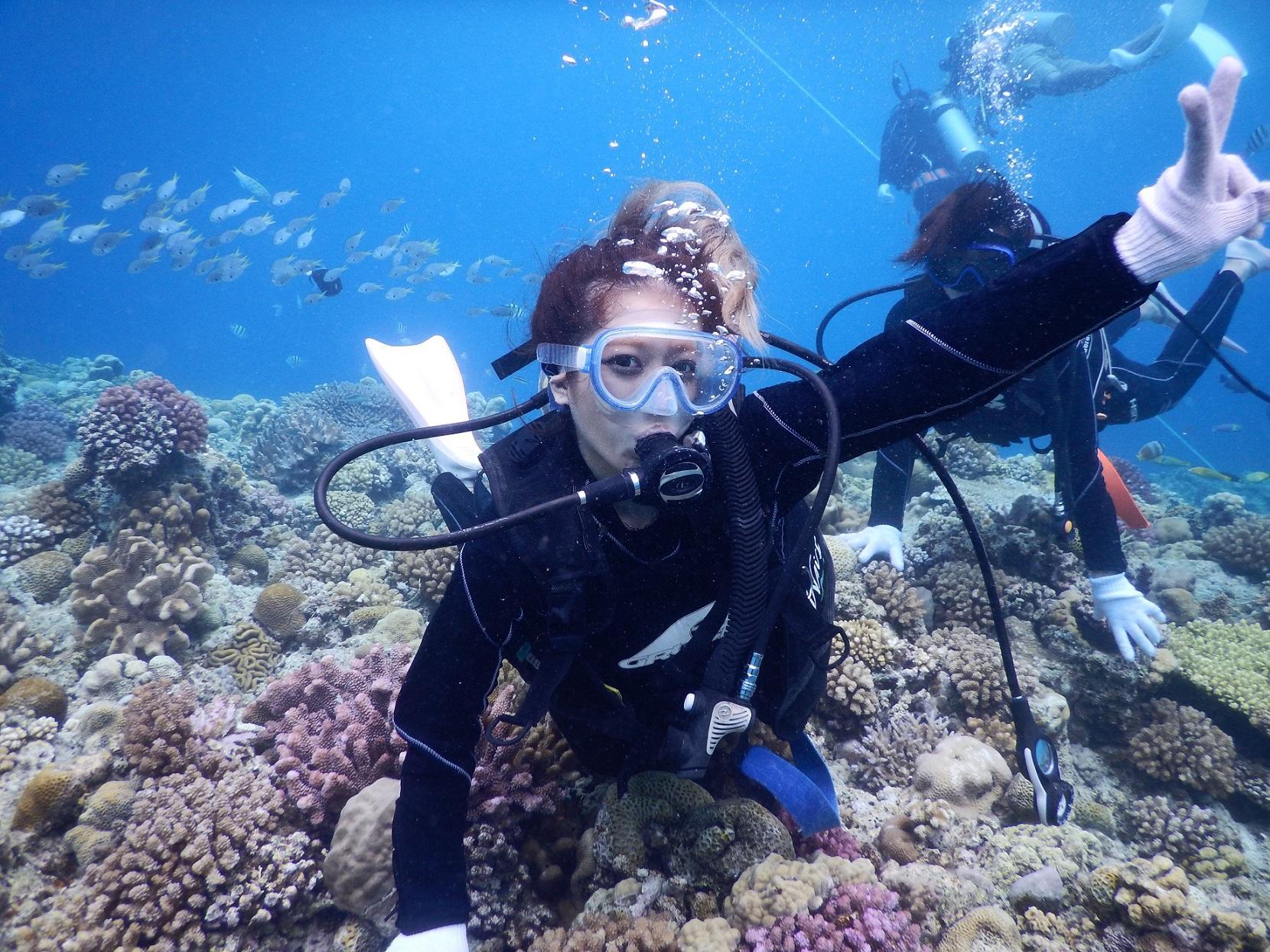 ボートで15分の離島!ミシュラン☆1ッ星の水納島へボート体験ダイビング♪ボートから海に入ればたくさんの珊瑚が広がる圧巻の景色が見られます!親切・丁寧にレクチャーいたしますのでご安心ください♪【1日3便運行】ミシュラン☆1ッ星!水納島で体験ダイビング♪ 9:00~
