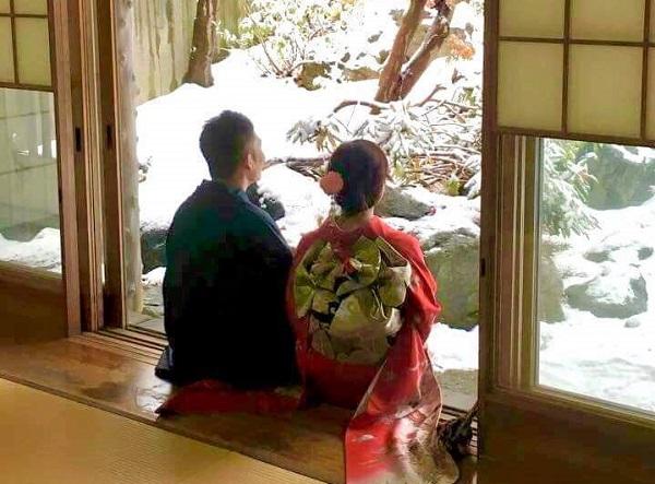 雪景色の中、着物を着て街歩き IN稚内の写真