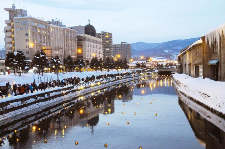 冬の小樽運河散策・余市とライトアップ白い恋人パークコース