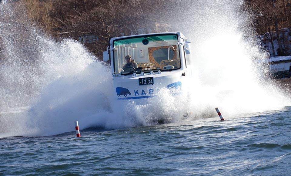 【H595】山中湖にダイブ!迫力の水陸両用カババスクルーズとリニア見学センター